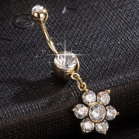 Online Layered Rhinestone Flower Belly Button Jewelry - GOLDEN  Mobile