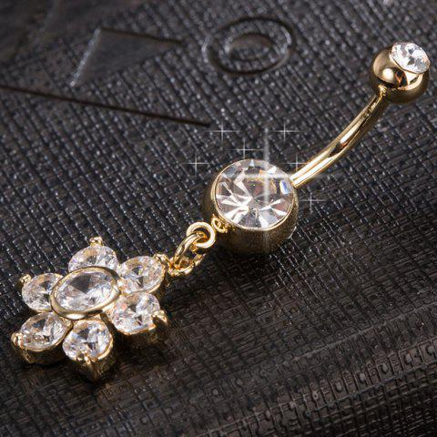 Latest Layered Rhinestone Flower Belly Button Jewelry - GOLDEN  Mobile