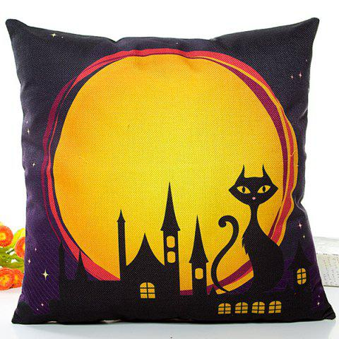 Sale Halloween Night Cat Printed Pillow Case