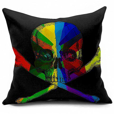 Halloween Colorful Skull Printed Sofa Cushion Pillow Case - COLORMIX