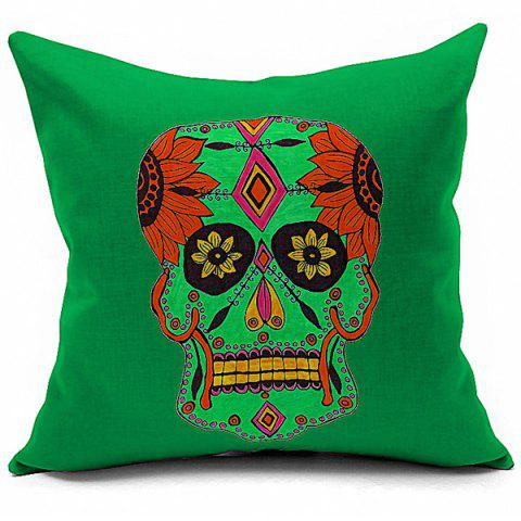 Outfits Creative Halloween Floral Skull Printed Sofa Cushion Pillow Case COLORMIX