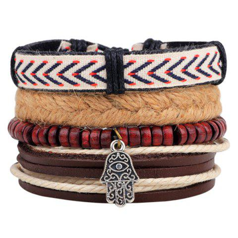 Store Layered Palm Bead Braided Bracelet BROWN