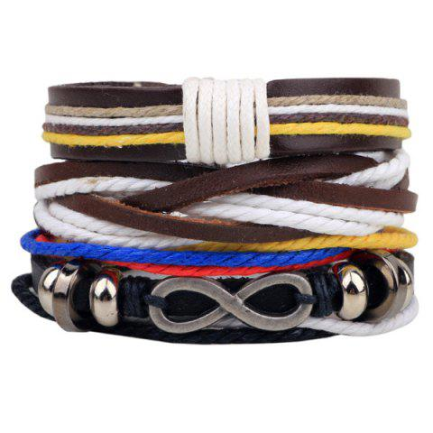 Shop Infinity Braided Faux Leather Bracelet BROWN