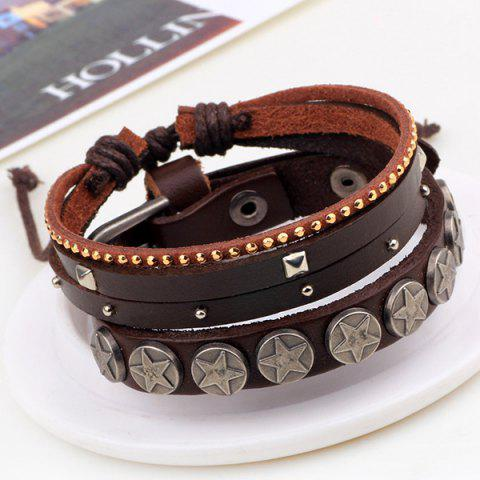 Outfit Star Faux Leather Bracelet - BROWN  Mobile