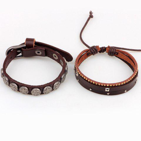 Chic Star Faux Leather Bracelet - BROWN  Mobile