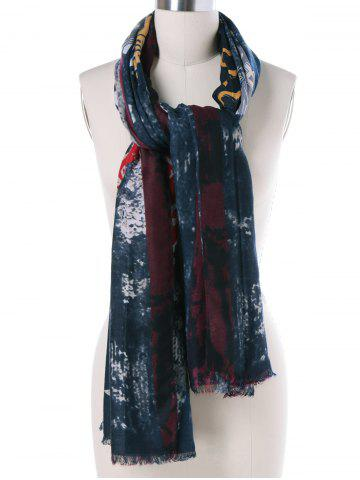 Latest Autumn Numbers Pattern Tie-Dyed Fringed Scarf