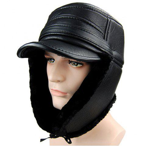 Outfits Outdoor Faux Fur and Earmuff Design PU Military Hat - BLACK  Mobile