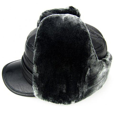 Trendy Outdoor Faux Fur and Earmuff Design PU Military Hat - DEEP GRAY  Mobile
