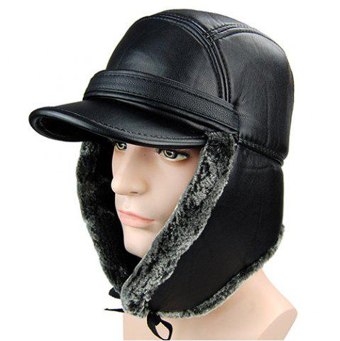 Trendy Outdoor Faux Fur and Earmuff Design Stripy PU Military Hat