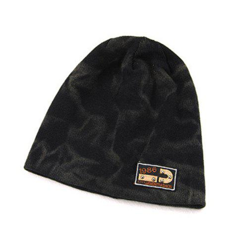 Affordable Warm Spotted Pattern Double-Deck Knit Ski Hat - BLACK  Mobile