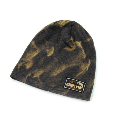 Best Warm Spotted Pattern Double-Deck Knit Ski Hat - GRAY  Mobile