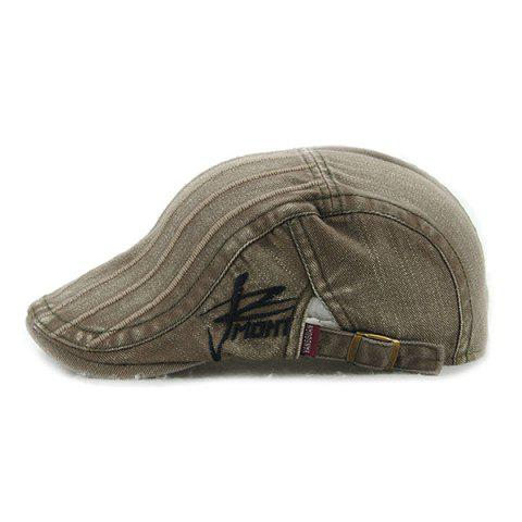 Fall Vertical Stripe and Letter Embroidery Cabbie Hat от Rosegal.com INT