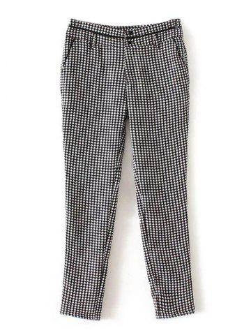 Plaid Printed Back Pocket Pants - BLACK XL