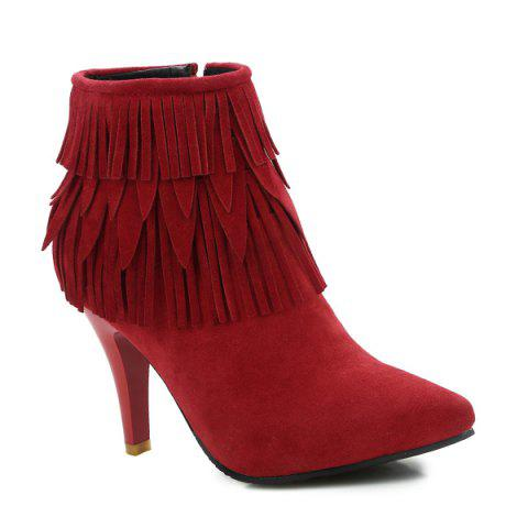 Best Stiletto Heel Fringe Zipper Boots RED 43