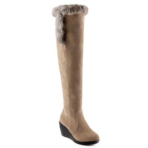 Cheap Zipper Faux Fur Platform Thigh Boots LIGHT CAMEL 37