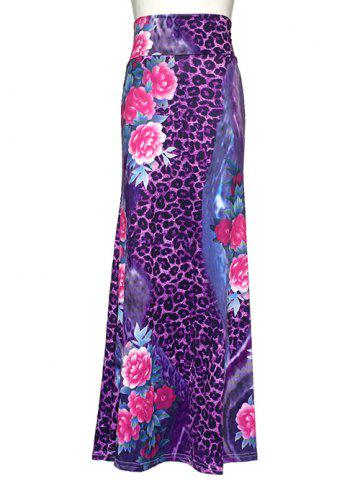 Outfits Leopard Floral Print Maxi High Waisted Skirt
