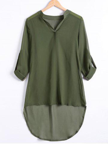 Asymmetrical Chiffon Shirt Tunic Dress - Army Green - L