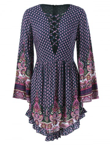 Ethnic Lace-Up Tiny Floral Dress - Purplish Blue - L