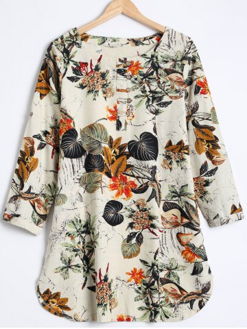 Unique Buttoned Leaf Print Loose Blouse