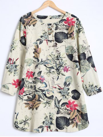 Fashion Buttoned Blossom Print Loose Blouse