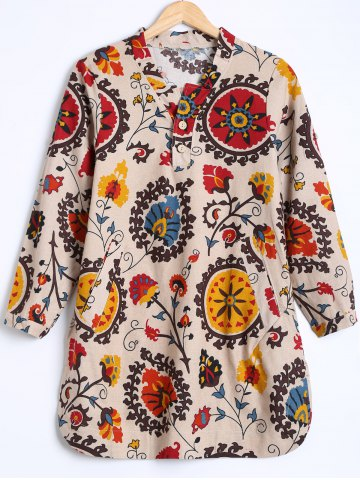 Cheap Tribal Print Buttoned Loose Blouse