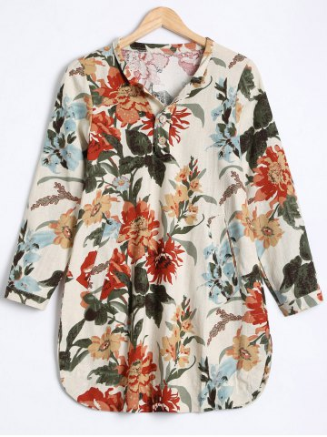 Sale Flowers Print Buttoned Loose Blouse