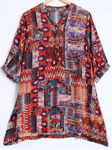 New Tribal Print Buttoned Loose Chiffon Blouse