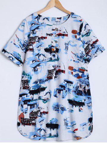 Fashion Ink-Painting House Print Furcal Blouse