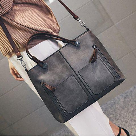 New PU Leather Multi Zips Tote Handbag