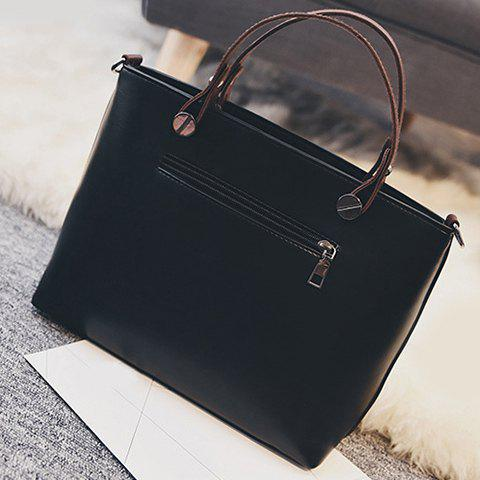 Chic PU Leather Multi Zips Tote Handbag - BLACK  Mobile