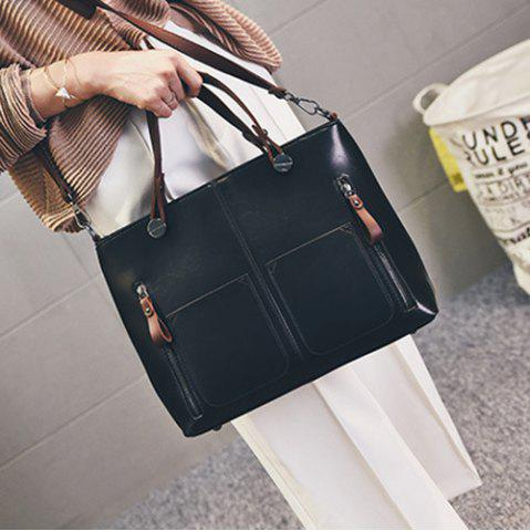 Store PU Leather Multi Zips Tote Handbag - BLACK  Mobile