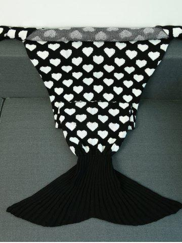 Cheap Peach Heart Knitted Sofa Wrap Mermaid Tail Blanket - WHITE AND BLACK  Mobile