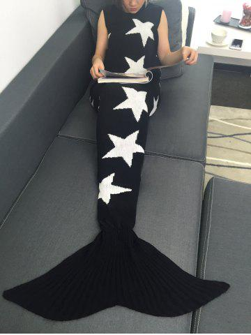 Hot Soft Sleeping Bag Star Knitted Wrap Mermaid Tail Blanket - WHITE AND BLACK  Mobile