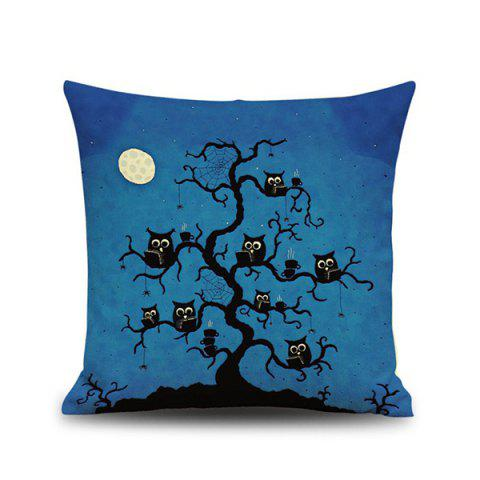Halloween Night Owl Linen Cushion Pillow Case - Deep Blue - 2xl