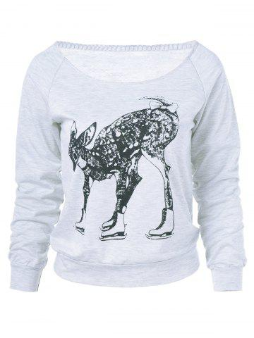 Unique Fawn Print Long Sleeve Sweatshirt