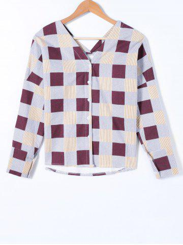 Outfits Long Sleeve Plaid V Neck Blouse