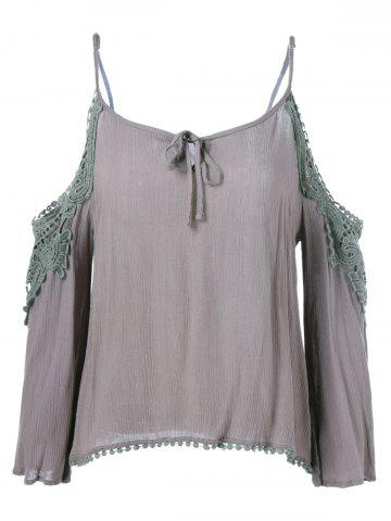 Sale Cut Out Openwork Blouse ARMY GREEN ONE SIZE