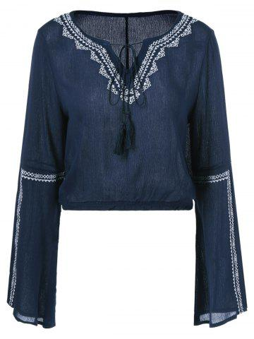 Affordable Embroidery Lace Up V Neck Blouse