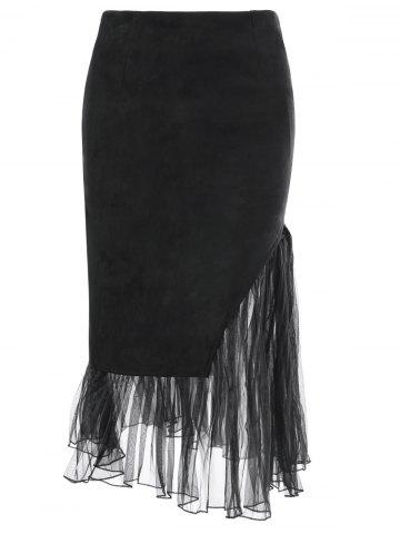 Online Tulle Insert Faux Suede Skirt