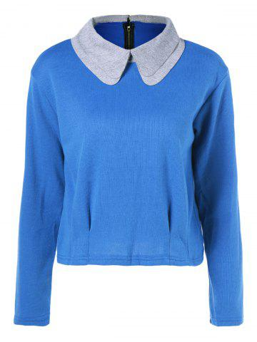 Outfit Peter Pan Collar Zipper Design T-Shirt BLUE 5XL