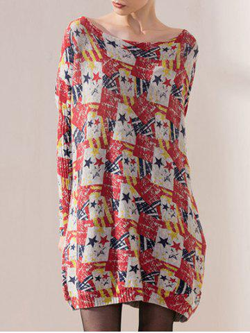 Discount Color Block Star Print Bat Sleeve Knit Dress