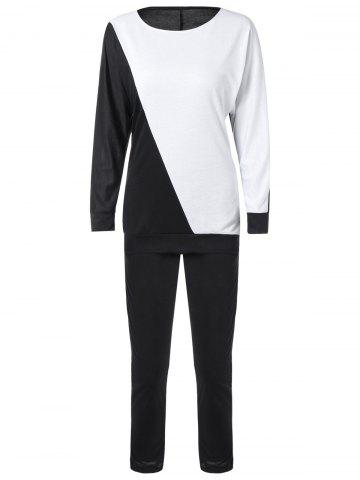 Long Sleeve Color Block Sweatshirt avec Pants