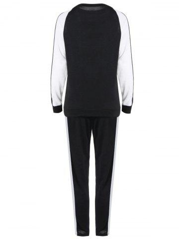 Unique Long Sleeves Color Block Sweatshirt with Pants - XL WHITE AND BLACK Mobile