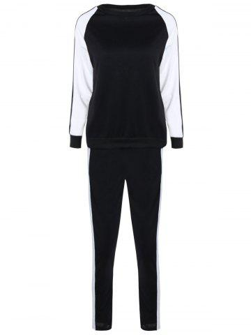 Shop Long Sleeves Color Block Sweatshirt with Pants - XL WHITE AND BLACK Mobile
