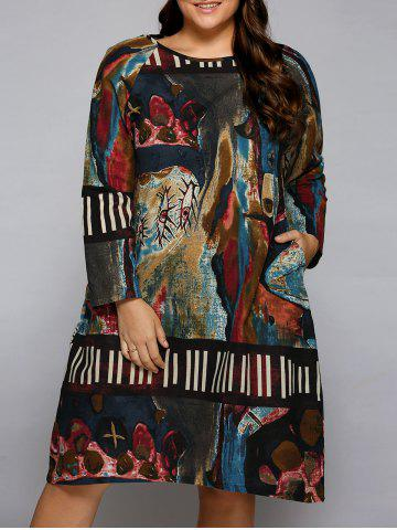 Cheap Plus Size Oil Painting Long Sleeve Dress COLORMIX ONE SIZE