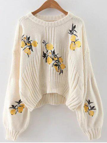 Online Lemon Embroidered Cropped Sweater