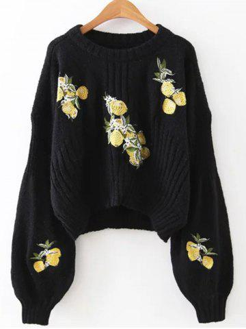 Latest Lemon Embroidered Cropped Sweater