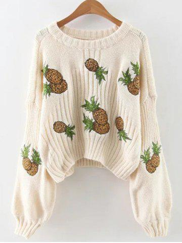 Buy Lantern Sleeve Pineapple Embroidered Cropped Sweater