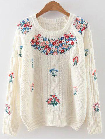 Fashion Vintage Floral Embroidered Cable Knit Sweater