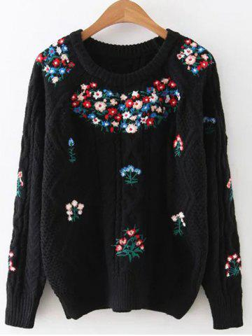 Cheap Vintage Floral Embroidered Cable Knit Sweater